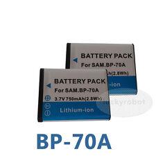 Two BP-70A Li-ion Battery For Samsung PL120 PL122 ES70 ES71 ST60 ST61 ST90