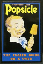 """Dollhouse Miniatures Metal Sign Advertising Popsicle Kid 1 5/8"""" x 2 1/2"""""""