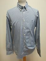F808 MENS TOMMY HILFIGER NEW YORK FIT BLUE WHITE STRIPED L/SLEEVE SHIRT UK M