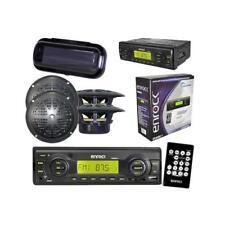 "Black Motorcycle MP3 MMC USB Media Player w/Cover & Remote 4 x 4"" Black Speakers"
