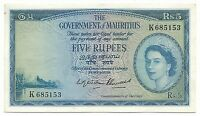 Mauritius Banknote 5 Rupees 1954 ND P27 XF Queen Elizabeth Rare Grade Good Sign