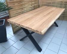 Esstisch Wildeiche Massiv Baumkantentisch 180x100cm Metallfüße X-Gestell Schwarz
