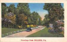 Holmes Pennsylvania Greetings Roadway Scenic View Antique Postcard J71608