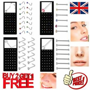 Nose Studs Set I L Screw Shape Silver Ball End Gold Ring Piercing Surgical Steel