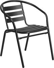 Indoor & Outdoor Black Metal Restaurant Stack Chair with Aluminum Slats
