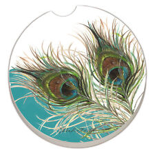 SET OF 2 - Absorbent Car Coasters- ELEGANT PEACOCK - NEW- FREE SHIPPING