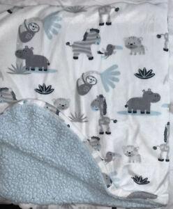 """Blankets & Beyond Blue Gray Baby Blanket Fleece Animals Zoo Sloth Monkey 30""""x27"""""""