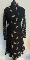 Rochelle Humes | Guipure Lace Midi Dress | Feather Print | Black | UK Size 10