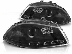 SEAT IBIZA 6L 2002 2003 2004 2005 2006 2007 2008 HEADLIGHTS LPSE08 LED BLACK