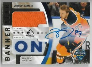 20/21 SP GAME USED BANNER YEAR AUTOGRAPH JERSEY/BANNER Connor McDavid #3/5