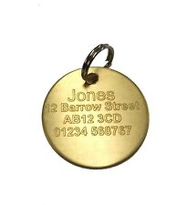 ENGRAVED DOG TAG / CAT TAG PET ID BRASS DISC CUSTOM PERSONALISED NAME ADDRESS