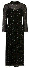 Warehouse Black Multi Polka Dot Spot Mesh Midi Dress 12 Bnwt