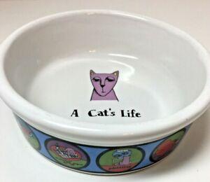"""Cat Dish Pet Bowl """"A Cat's Life"""", Signature by Ursula Dodge"""