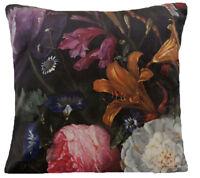 "Italian Velvet Cushion Cover Printed Roses Hydrangea Butterfly Peony 16"" 18"" 20"""
