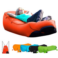 Inflatable Lounger Portable Air Beds Sleeping Bag Sofa Couch for Beach Home Red