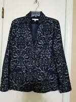 Sz 6 Cabi Navy Jacquard Soft Wool Blend Navy Textured Blazer/Jacket- NWOT