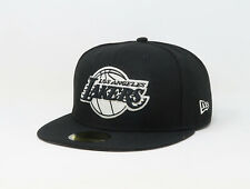 New Era 59Fifty Cap NBA Team Los Angeles Lakers Mens Black White Fitted Hat 5950