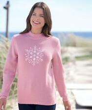 Damart Snowflake Sequin Sweater Pink UK 10/12 LN191 KK 01