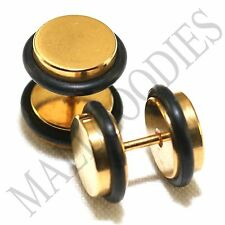 2094 Fake Cheater Illusion Faux Ear Plugs 16G Surgical Steel 00G 10mm Gold Large