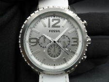 New Old Stock - FOSSIL Gage BQ1176 - Silver Dial White Leather Quartz Men Watch