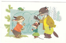 1968 RARE Hare wolf & mouse Elephant picture old Russian Soviet postcard