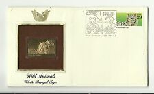 US 2709 (1992) 29c {First Day of Issue; White Bengal} 24kt Gold Replica; Cover