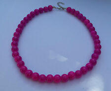 Collar De Vidrio Opaco Púrpura Grueso Broche De Plata PL Strand 16 pulgadas Frl