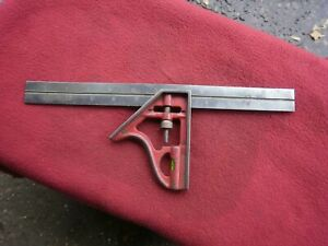 """Vintage 12""""  Sliding Combination Square & Level Engineers Old Tool--USA"""