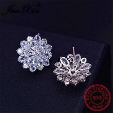 Elegant Snowflake Women CZ 925 Sterling Silver Stud Earrings Wedding Jewelry