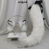 Details about  /White Shaggy Cat Hair Band Simulation Animal Ears KC Tail Custom Cosplay Zhq11