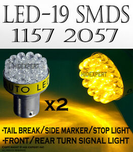 2 pairs 1157 12 SMDs LED Chips Yellow Fit Halogen Rear Tail Brake Light Bulb D54
