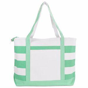 DALIX Striped Boat Bag Premium Cotton Canvas Tote Shopping Bag Shoulder Totes
