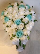 WHITE AND AQUA ROSES TEARDROP 60 BUDS WEDDING BOUQUET ARTIFICIAL SILK FLOWER