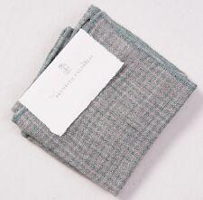 NWT $155 BRUNELLO CUCINELLI Green-Gray Puppytooth Check Linen Pocket Square