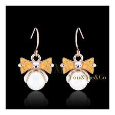18k Rose Gold EP Triangle Cut Topaz Crystal & 6mm Cream Pearl Dangle Earrings