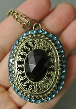 VINTAGE ANTIQUE RETRO OVAL BLUE BEADS PENDANT BOHEMIAN Fashion NECKLACE