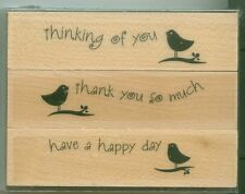HERO ARTS rubber stamp set SINGING BIRDS wood mounted Sentiments Thinking of You