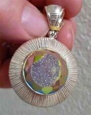 Sparkling Mystic Druzy Pendant! Solid Sterling Silver 925 Drusy Druse