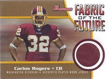 2005 Bowman Football Carlos Rogers Redskins Rookie Jersey card #94/100