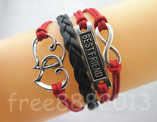 Mix Infinity BestFriend Double Hearts Charms Leather Wax Rope Bracelet Red+Black