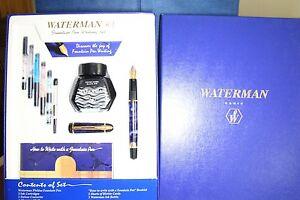 Waterman Phileas  fountain pen set. Blue/Marble M nib. GT, extras. LOOK