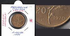 ITALIA 20 LIRE 1970 BRONZO FDC UNC  ZECCA VARIANTE MEDIA STUPENDA P VEDI FOTO
