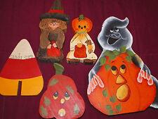 Lot of 5 wooden handpainted Halloween Decorations