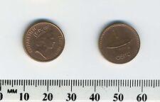 Fiji 2001 - 1 Cent Copper Plated Zinc Coin - Q. Elizabeth II - Tanoa kava bowl