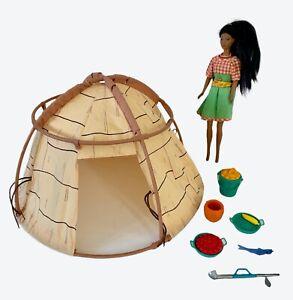 Vintage Disney Pocahontas Barbie Doll, Powhatan Village Tent & Accessories