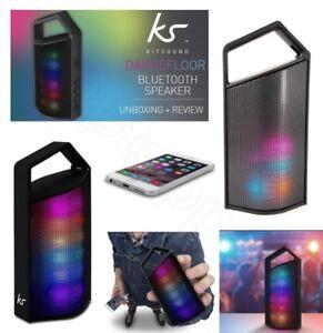 KitSound Dancefloor Wireless Bluetooth Rechargeable Speaker With Light In Black