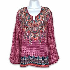 Tolani 100% Silk Tunic Top Size XL Pink Boho Long Sleeve Printed Lightweight
