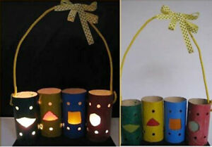 Unique lanterns for babies from toilet paper cores, simple recycled paper cores