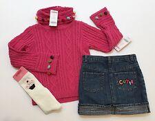 NWT Gymboree Cupcake Cutie Sz 5 Pom Pom Turtleneck Sweater Denim Skirt & Socks