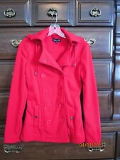 Womens NEW LOOK Red Hooded Fleece Coat Small S